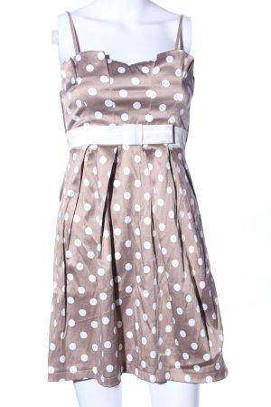 Amisu Trägerkleid braun-weiß Punktemuster Elegant