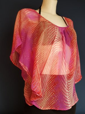 Amisu - transparente Tunikabluse mit geblümten Rückenausschnitt