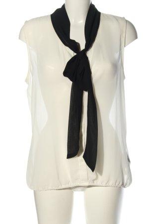 Amisu Transparenz-Bluse weiß-schwarz Casual-Look