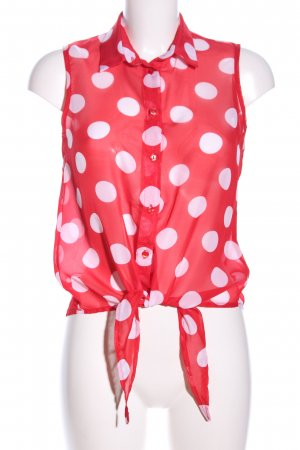 Amisu Transparenz-Bluse rot-weiß Allover-Druck Casual-Look