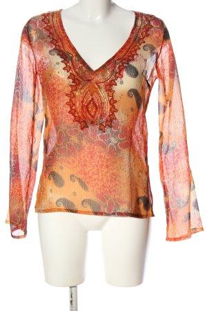Amisu Transparenz-Bluse abstraktes Muster Casual-Look