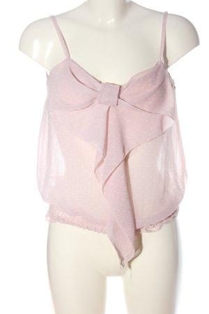 Amisu Blusa transparente rosa-blanco estampado a lunares look casual