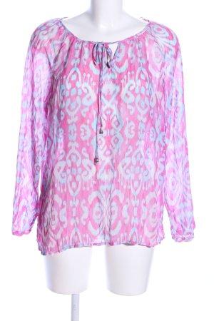 Amisu Transparenz-Bluse pink-blau abstraktes Muster Casual-Look