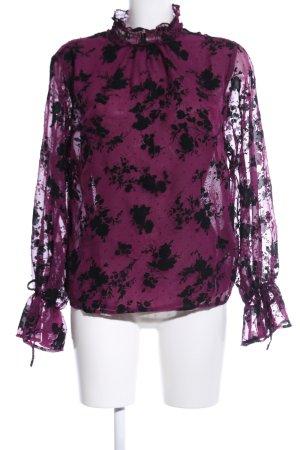 Amisu Transparenz-Bluse pink-schwarz Blumenmuster Elegant