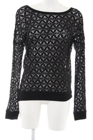 Amisu Transparenz-Bluse schwarz Allover-Druck Elegant