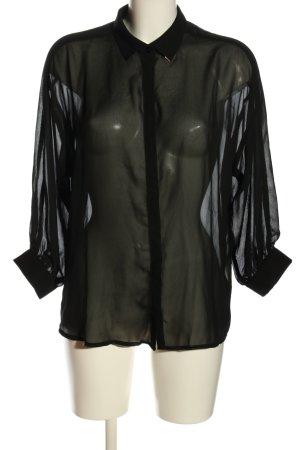 Amisu Transparenz-Bluse schwarz Casual-Look