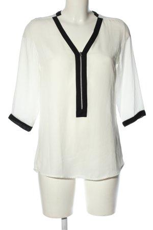 Amisu Blusa de túnica blanco-negro estilo «business»