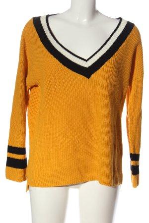 Amisu V-Ausschnitt-Pullover Zopfmuster Casual-Look