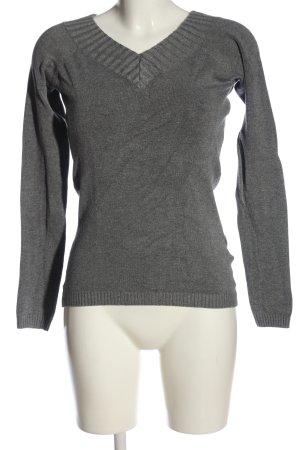 Amisu V-Ausschnitt-Pullover hellgrau meliert Casual-Look