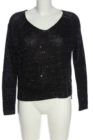 Amisu V-Ausschnitt-Pullover schwarz-silberfarben Casual-Look