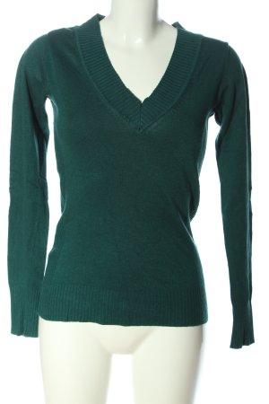 Amisu V-Ausschnitt-Pullover grün Casual-Look