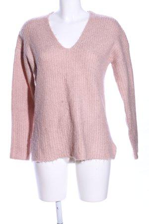 Amisu V-Ausschnitt-Pullover nude Zopfmuster Casual-Look
