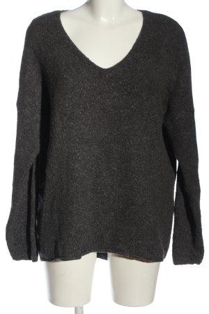 Amisu V-Ausschnitt-Pullover schwarz Casual-Look