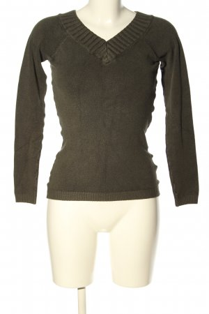 Amisu V-Ausschnitt-Pullover khaki Business-Look