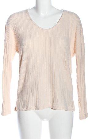 Amisu V-Neck Sweater cream striped pattern casual look