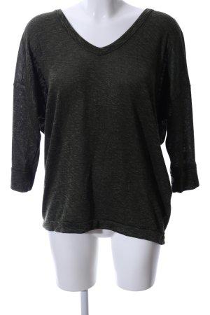Amisu V-Ausschnitt-Pullover khaki-schwarz meliert Casual-Look