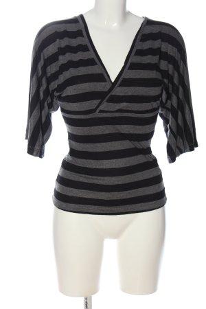 Amisu V-Ausschnitt-Shirt schwarz-hellgrau Allover-Druck Casual-Look