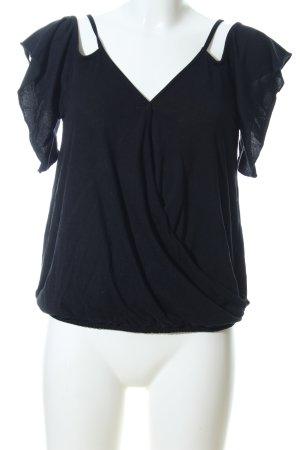 Amisu V-Ausschnitt-Shirt schwarz Casual-Look
