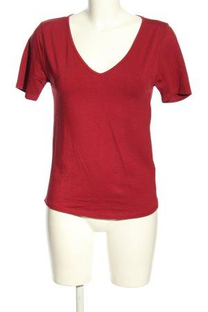 Amisu V-Ausschnitt-Shirt rot Casual-Look