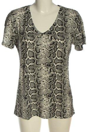 Amisu V-Ausschnitt-Shirt wollweiß-schwarz Animalmuster Casual-Look