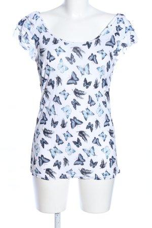 Amisu Wasserfallshirt weiß-blau Motivdruck Casual-Look