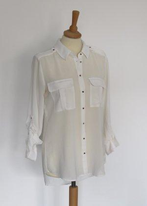 Amisu weiße semitransparente Bluse S