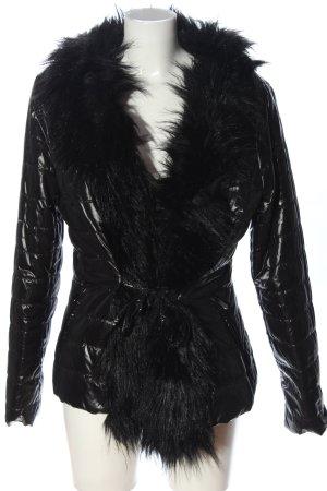 Amisu Veste d'hiver noir motif de courtepointe style décontracté