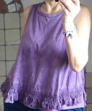Amity Top, Fransen, Häkelbordüre, A-Linie, ärmellos,violet, flieder, sehr süßes Top, Hippie, Boho, Noa, neuwertig, Italien, Gr. M/L