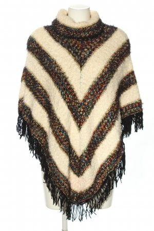 Amo&Roma Poncho brown-natural white striped pattern casual look
