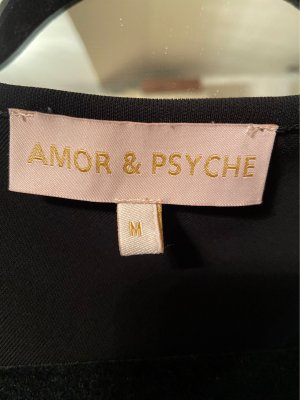 Amor & Psyche Cowl-Neck Shirt black-silver-colored