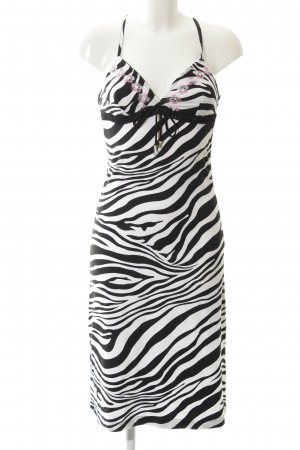 Amor & Psyche A Line Dress black-white animal pattern Band ornaments