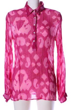 Amor & Psyche Hemdblouse roze abstract patroon zakelijke stijl
