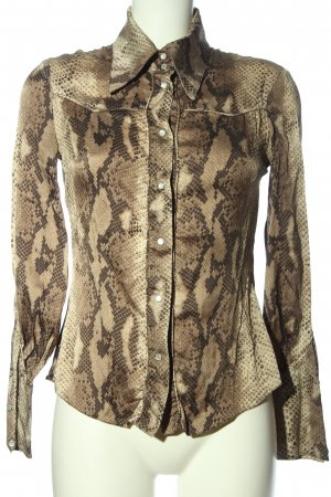 Amor & Psyche Shirt Blouse brown allover print business style