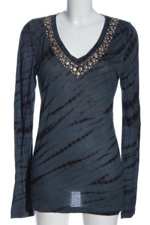 Amor & Psyche Blusa de manga larga azul-negro look casual