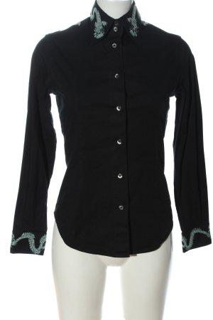 Amor & Psyche Shirt met lange mouwen zwart-zilver grafisch patroon