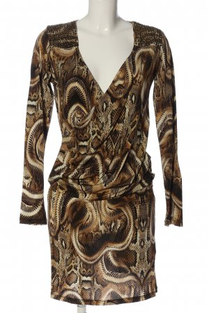 Amor & Psyche Longsleeve Dress bronze-colored-gold-colored allover print elegant