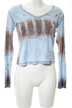 Amor & Psyche Longesleeve bruin-blauw bloemenprint casual uitstraling