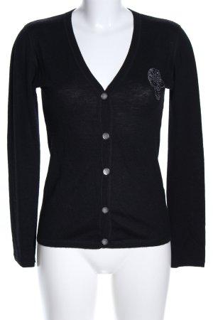 Amor & Psyche Veste en tricot noir style décontracté