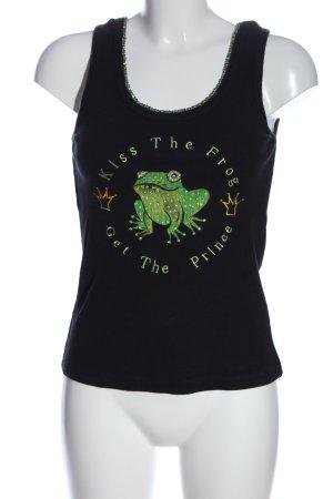 Amor & Psyche Top de punto negro-verde estampado temático look casual