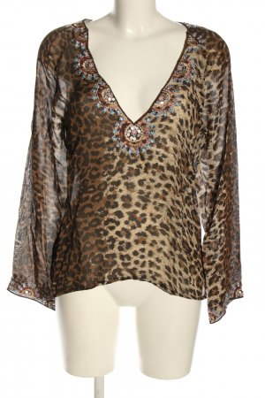 Amor & Psyche Transparent Blouse natural white-brown leopard pattern casual look
