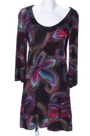 Amor & Psyche Robe tunique noir-rose motif abstrait style décontracté