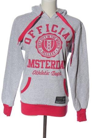 Amsterdam designS Hooded Sweatshirt light grey-red themed print casual look