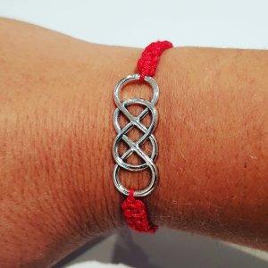 Bracelet brésilien argenté-rouge