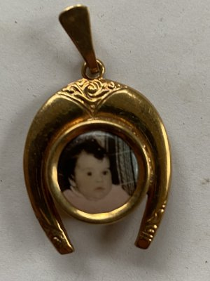 Amulett medaillon für 2 Bilder echt vergoldet Double gold