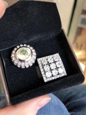 Amway Boutique NEU Schmuck Statement Ringe 18 mm weiß grün - Versandkostenfrei