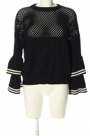 Amy Lynn Crewneck Sweater black-white striped pattern casual look