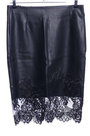Amy Vermont Jupe en cuir synthétique noir motif de fleur élégant