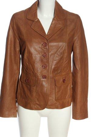 Amy Vermont Leren blazer bruin casual uitstraling