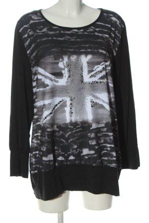 Amy Vermont Manica lunga nero-grigio chiaro Stampa a tema stile casual