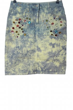 Amy Vermont Mini rok blauw-sleutelbloem abstract patroon casual uitstraling